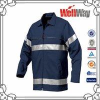 Navy Safety Reflective Tape Men Work Shirts