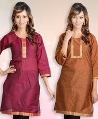 Cotton Silk Zari Border 3/4 Th Sleeve Kurti