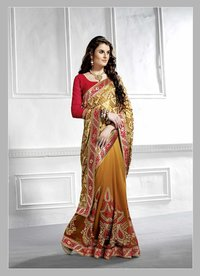 Embroidered Georgette And Brasso Half And Half Saree (Brown,Beige)