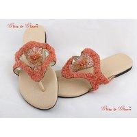 Bright Orange Beads Sandals