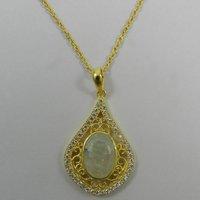 Charm Design Rainbow Moonstone Gemstone Cz Pendant Brass Chain Necklace