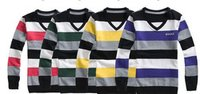 V Neck Striped Sweaters