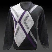 V Neck Purple Grey Casual Sweater