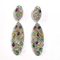 Silver Earrings With Color Tourmalines