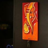Lord Ganesha Hand Painted Key Holder Orange