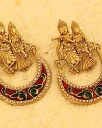 Gold Plated Radha-Krishna Earrings With Red