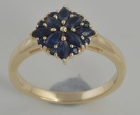 Latest Unique Design 9 Kt Yellow Gold Elegant Beautiful 1.20 Ct Blue Sapphire Gemstone Wedding Ring
