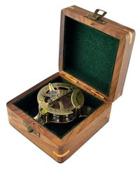 Beautiful Sundial Compass in Hardwood Box