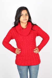 Ladies Knitted Cowl Neck Pullover
