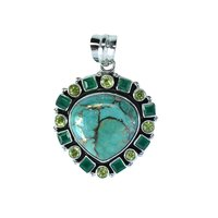 Silver Oxidized Pendant With Copper Turquoise