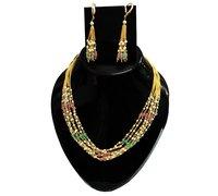 Multi Stone Pearl Tassel Necklace Set