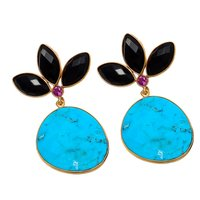 Turquoise And Black Onyx Gemstone Earrings