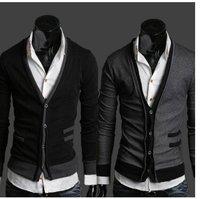 Black Dark Gray V Neck Mens Cardigan Sweater