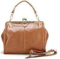 Brown Metal PU Leather Handbag