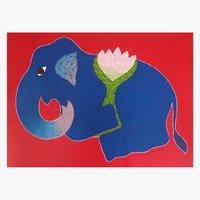 Elephant Lotus Painting
