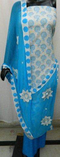Block Printed Aari Work Ladies Suit