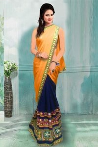 Orange and Blue Party Wear Georgette Saree