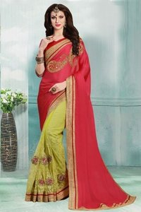 Red And Light Olive Green Party Wear Faux Satin Chiffon And Net Saree