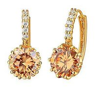 Alloy White Gold Plated Crystal Stone Earrings (E1085_alloy_white)