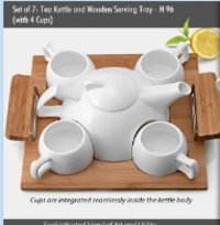 Tea Kettle With Cups And Wooden Serving Tray