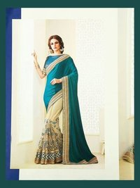 Rama Embroidered Silk and Georgette Designer Wedding Saree With Designer Blouse