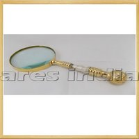 Antique Vintage Style Brass And Mother Of Pearl Magnifying Glass