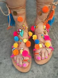 Beautiful Beach Pompom Gladiator boho Sandals