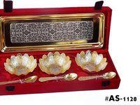 Silver Plated And Gold Plated Kamal Bowls Set Of 7pc