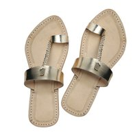 Golden Leather Sandal for ladies