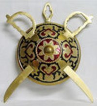 Brass Wall Hanging Swords And Shield