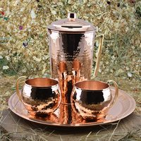 Copper Water Pitcher With Mugs