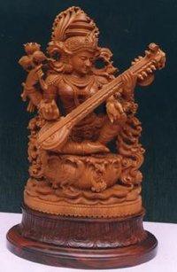 Sandalwood Goddess Saraswati Statue