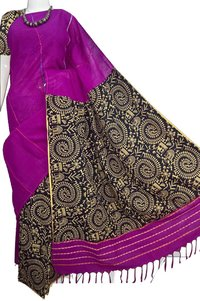 Cotton Khesh Printed Gurjarii Sarees With Printed Blouse PC