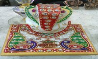 Multicolor Marble Ganesha On Chowki - Religious Handicrafts