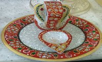 Multicolor Marble Ganesha On Round Plate - Religious Handicrafts