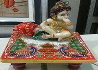 Multicolor Marble Krishna With Chowki - Religious Handicrafts