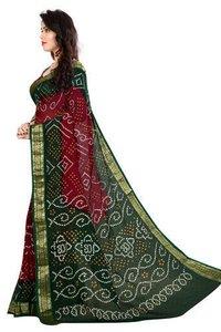 Ladies Multicolor Plain Border Bandhani Saree