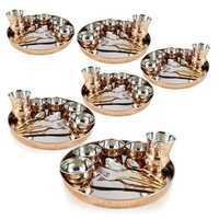 Copper Stainless Steel Large Dinner Plate 6 Set
