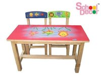 Marine Rubber Wood School Tables With Two Chair