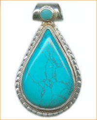 TURQUOISE STUDDED SILVER PENDANT