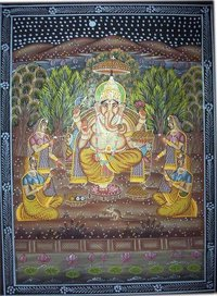 Lord Ganesha Cotton Paintings