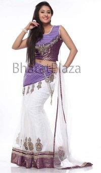 Charming White And Purple Lehenga Choli