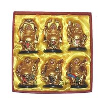 Set 6 Pieces Golden Laughing Buddha