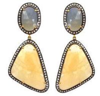 Yellow Grey Sapphire Earring