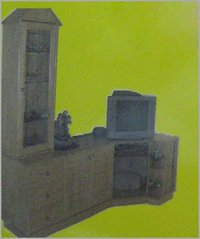 T.V. Cabinet With Natural Rubber Wood Finish