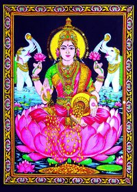 Indian God Diwali Pooja Laxmi Painting Poster With Framed