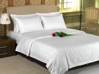 Satin Strip Bed Sheet And Pillow Cover