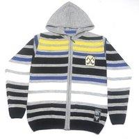 Men Hood Striped Sweater