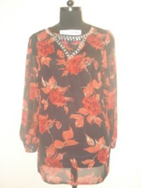 Printed Sequin Tunic Top