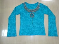 Womens Tie And Dye Hand Embroidery Party Wear Top